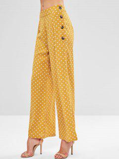 ZAFUL Side Buttoned Polka Dot Pants - Golden Brown M