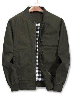 Solid Color Stand Collar Jacket - Army Green L