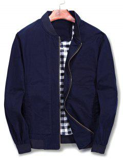 Solid Color Stand Collar Jacket - Blue M