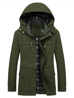 Casual Flap Pocket Slim Coat - Army Green L