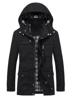 Casual Flap Pocket Slim Coat - Black L