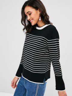 Slit Stripe Sweater - Black