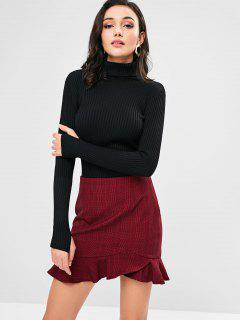 Armhole Ribbed Turtleneck Sweater - Black
