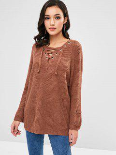 Lace-up Tunic Sweater - Brown