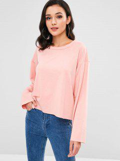 Raw Hem Oversized Sweatshirt - Flamingo Pink L