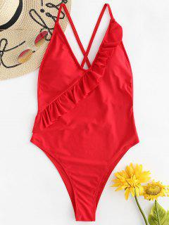 ZAFUL Ruffles High Cut Criss Cross Swimsuit - Love Red L