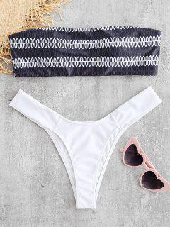 ZAFUL Geometric Print Bandeau Set - Black S