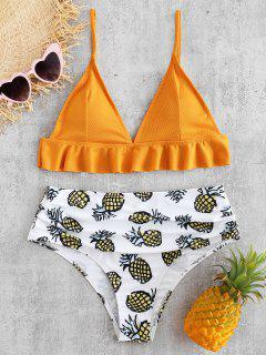 ZAFUL Frilled Geraffte Ananas-Bikini-Set - Schulbus Gelb M
