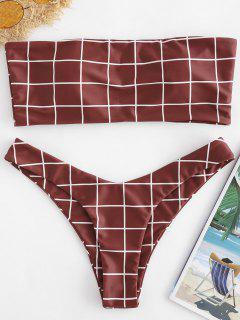ZAFUL Plaid Bandeau Hohes Bein Bikini Set - Roter Wein S