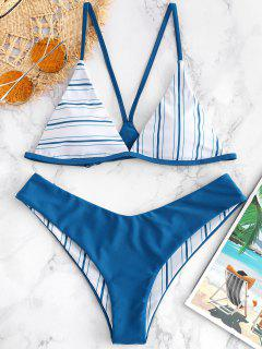 ZAFUL Y-back Striped Bikini Set - Blue Eyes S
