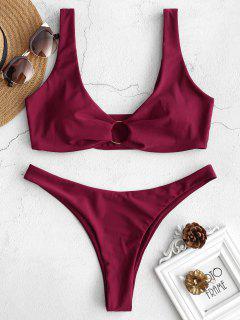 ZAFUL Ring Embellished Low Rise Bikini Set - Red Wine M