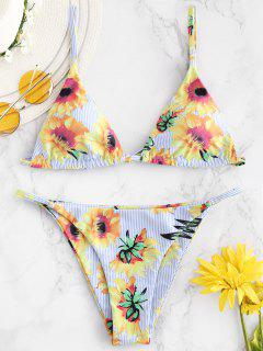 ZAFUL Streifen Floral String Bikini Set - Multi S