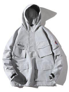 Multi-pocket Hooded Windproof Jacket - Gray Goose M