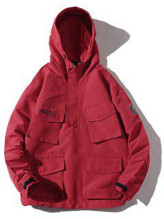 Multi-pocket Hooded Windproof Jacket - Red L