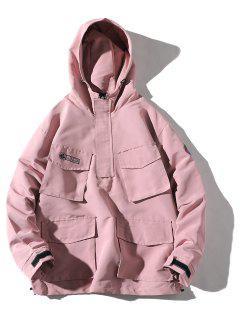 Multi-pocket Hooded Windproof Jacket - Light Pink M