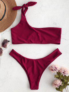 ZAFUL One Shoulder Bralette Bikini Set - Roter Wein S