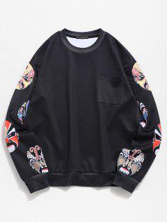 ZAFUL Peking Opera Masks Print Sweatshirt - Black Xl