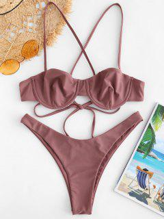 ZAFUL High Cut Criss Cross Bikini Set - Rosy Finch S