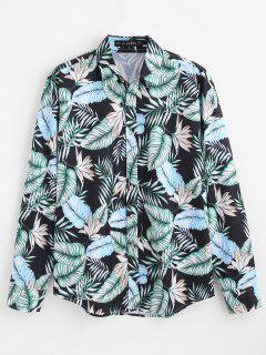 ZAFUL Casual Tropical Leaves Printed Shirt - Multi M