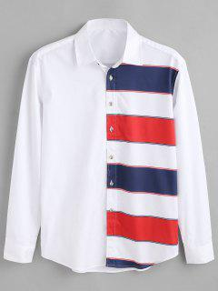 ZAFUL Color Block Stripes Print Shirt - White S