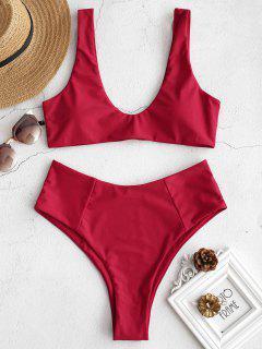 ZAFUL High Waisted Scoop Bikini Set - Love Red L