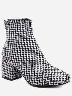 Houndstooth Chunky Heel Ankle Boots - Battleship Gray 38