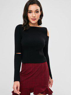 ZAFUL Cut Out Boat Neck Knit Sweater - Black S
