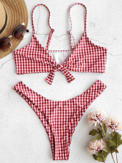 ZAFUL Bralette Plaid Knotted Bikini Set - Red Wine S