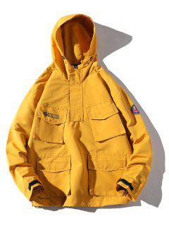 Multi-pocket Hooded Windproof Jacket - Yellow 4xl