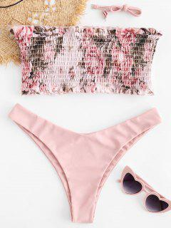 ZAFUL Floral Smocked Bandeau Bikini Set - Light Pink S