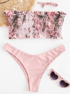 ZAFUL Floral Bandeau Bandeau Bikini Set - Rosa Claro M