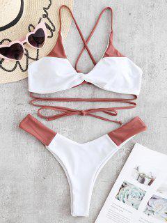 Conjunto De Bikini De Dos Tonos ZAFUL Con Cordones Y Giro - Rosa Finch M
