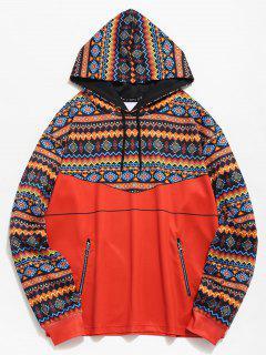 ZAFUL Ethnic Print Zip Pockets Hoodie - Tangerine M