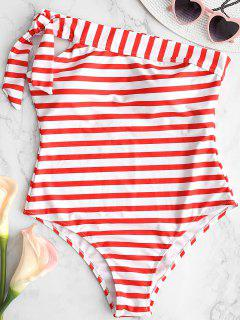 One Shoulder Striped Swimsuit - Fire Engine Red S