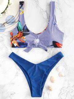 Conjunto De Bikini Con Tanque De Estampado De Plantas A Rayas ZAFUL - Ojos Azules L