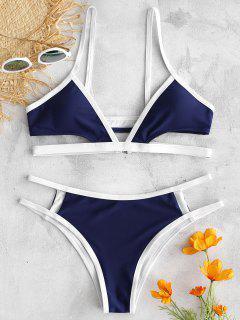 ZAFUL - Bikini Set Mit Kontrastbesatz Und Ausschnitt - Mitternacht Blau S