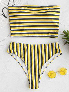 ZAFUL Striped Bandeau High Cut Bikini Set - Multi M