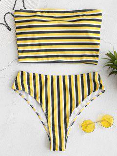 ZAFUL Gestreiftes Bandeau High Cut Bikini Set - Multi L