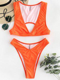 ZAFUL V Neck High Cut Bikini Set - Orange L
