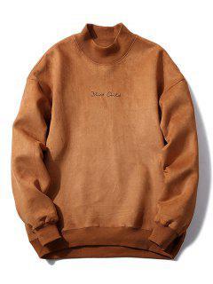 Chest Letter Print Solid Color Suede Sweatshirt - Light Brown S