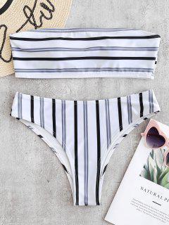 ZAFUL - Gepolstertes Bandeau-Bikini-Set Mit Streifen - Weiß M