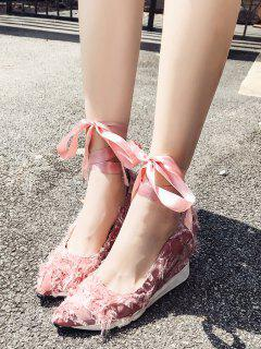 Lace Up Frayed Trim Satin Shoes - Light Pink 38