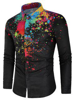 Hidden Button Paint Splatter Shirt - Black L