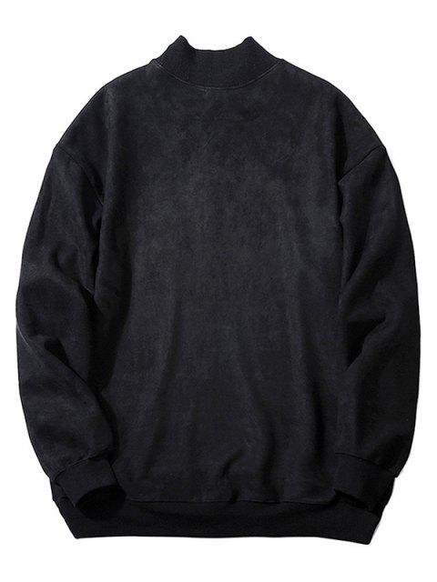 chic Chest Letter Print Solid Color Suede Sweatshirt - BLACK XS Mobile