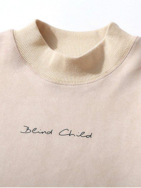 buy Chest Letter Print Solid Color Suede Sweatshirt - WARM WHITE S Mobile