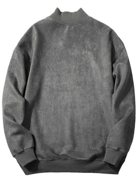 ladies Chest Letter Print Solid Color Suede Sweatshirt - DARK GRAY S Mobile