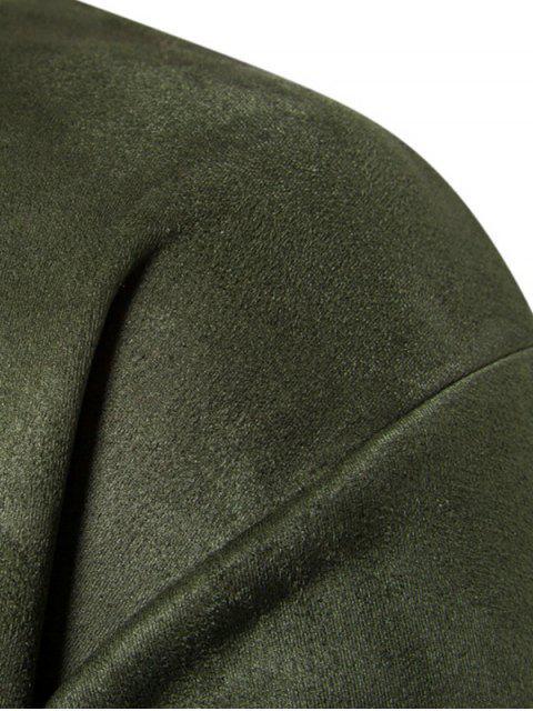 Sweat-shirt Lettre en Poitrine en Couleur Unie en Daim - Vert Armée  L Mobile