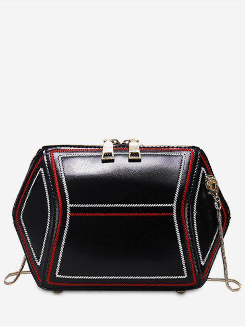 Sac bandoulière zippé géométrique - Noir  Mobile