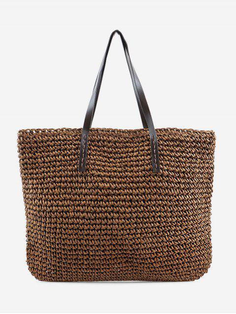 latest Minimalist Straw Braided Shoulder Bag - BROWN  Mobile