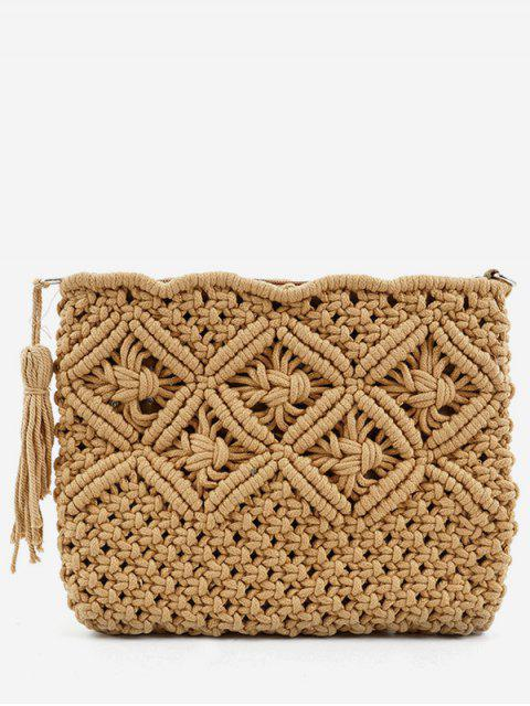 trendy Straw Braided Tassel Clutch Bag - COFFEE  Mobile